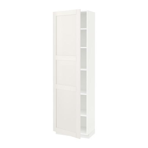 МЕТОД Высок шкаф с полками - 60x37x200 см, Сэведаль белый, белый