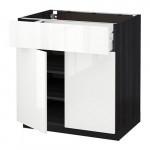 МЕТОД / МАКСИМЕРА Напольный шкаф+ящик/2дверцы - 80x60 см, Рингульт глянцевый белый, под дерево черный