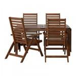 ЭПЛАРО Стол+4 кресла, д/сада - коричневая морилка