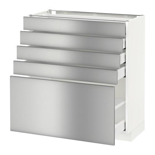 МЕТОД / МАКСИМЕРА Напольный шкаф с 5 ящиками - 80x37 см, Гревста нержавеющ сталь, белый