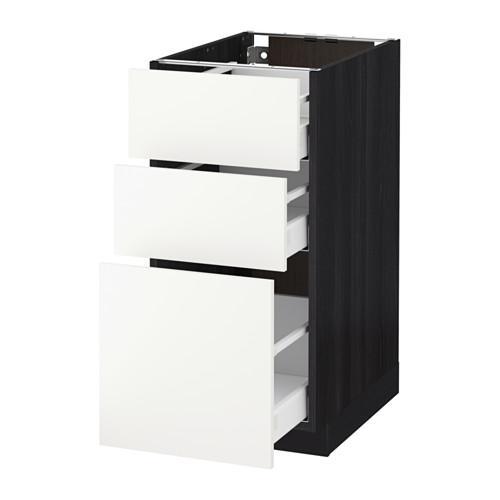 МЕТОД / МАКСИМЕРА Напольный шкаф с 3 ящиками - 40x60 см, Хэггеби белый, под дерево черный