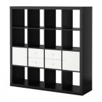 EXPEDIT Combe per a l'emmagatzematge amb portes / calaixos - negre-marró / blanc