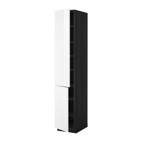 МЕТОД Высокий шкаф с полками/2 дверцы - 40x60x220 см, Рингульт глянцевый белый, под дерево черный