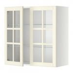 МЕТОД Навесной шкаф с полками/2 стекл дв - 80x80 см, Будбин белый с оттенком, белый