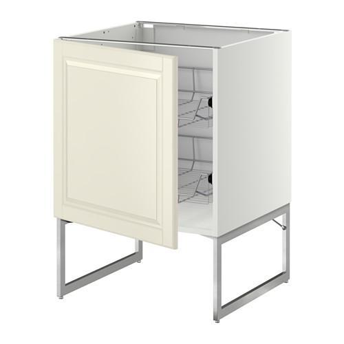 МЕТОД Напольный шкаф с проволочн ящиками - 60x60x60 см, Будбин белый с оттенком, белый