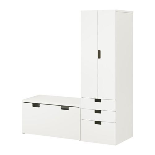 СТУВА Комбинация д/хранен со скамьей - белый/белый