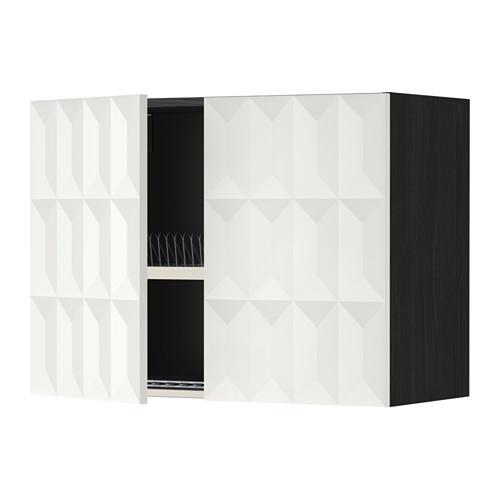 МЕТОД Навесной шкаф с посуд суш/2 дврц - 80x60 см, Гэррестад белый, под дерево черный