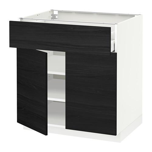 МЕТОД / МАКСИМЕРА Напольный шкаф+ящик/2дверцы - 80x60 см, Тингсрид под дерево черный, белый
