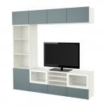 БЕСТО Шкаф для ТВ, комбин/стеклян дверцы - белый/Вальвикен серо-бирюзовый, прозрачное стекло, направляющие ящика, плавно закр