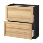 MÉTODO / FORVARA base del armario con cajones 2 - madera de color negro, Torhemn fresno natural, 80x37 cm
