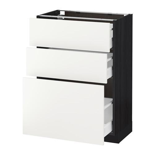 МЕТОД / МАКСИМЕРА Напольный шкаф с 3 ящиками - 60x37 см, Хэггеби белый, под дерево черный