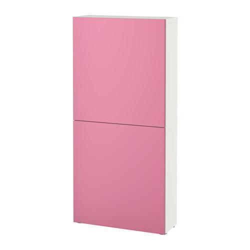 БЕСТО Навесной шкаф с 2 дверями - белый/Лаппвикен розовый