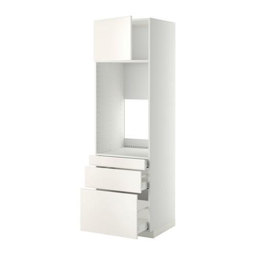 МЕТОД / МАКСИМЕРА Выс шкаф д/двойн духовки/3ящ/дверца - 60x60x200 см, Веддинге белый, белый