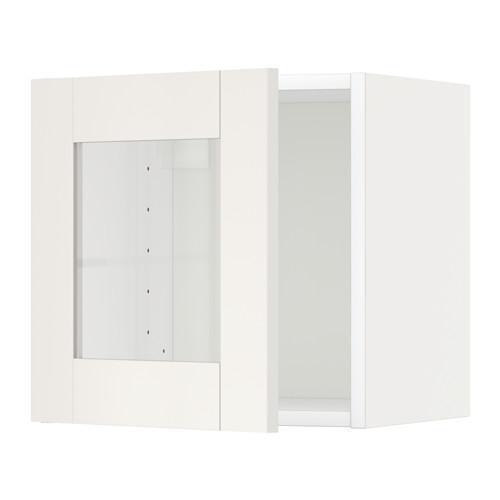 МЕТОД Навесной шкаф со стеклянной дверью - белый, Сэведаль белый