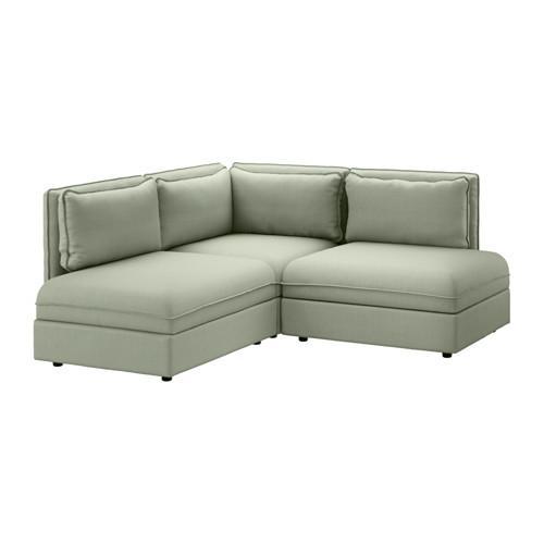 VALLENTUNA 3-local corner sofa - Hillarred green, Hillared green