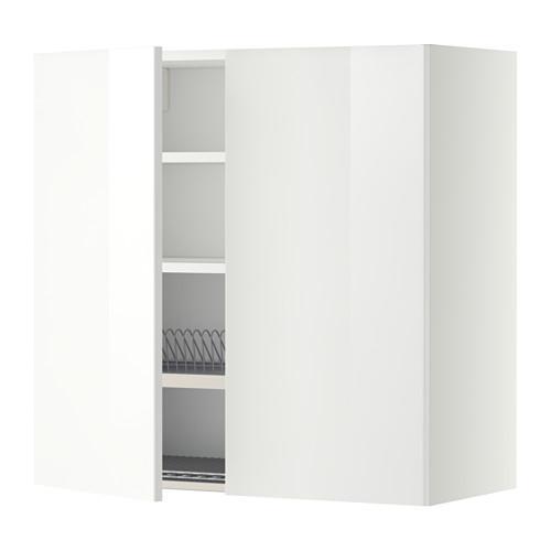 МЕТОД Навесной шкаф с посуд суш/2 дврц - 80x80 см, Рингульт глянцевый белый, белый