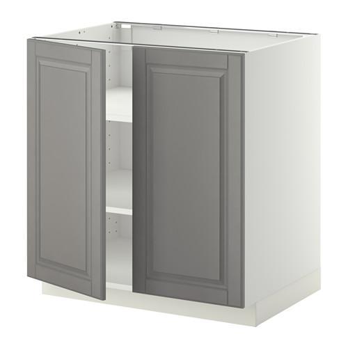 МЕТОД Напол шкаф с полками/2двери - 80x60 см, Будбин серый, белый