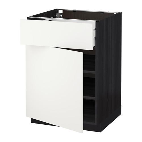 МЕТОД / МАКСИМЕРА Напольный шкаф с ящиком/дверью - 60x60 см, Хэггеби белый, под дерево черный
