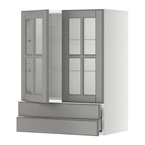 МЕТОД / МАКСИМЕРА Навесной шкаф/2 стек дв/2 ящика - 60x80 см, Будбин серый, белый