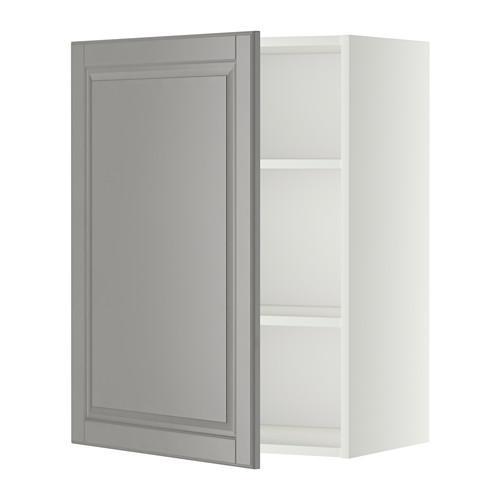 МЕТОД Шкаф навесной с полкой - 60x80 см, Будбин серый, белый