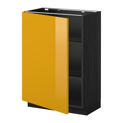 МЕТОД Напольный шкаф с полками - 60x37 см, Гэррестад белый, под дерево черный