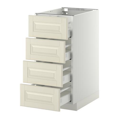 МЕТОД / МАКСИМЕРА Напольн шкаф 4 фронт панели/4 ящика - 40x60 см, Будбин белый с оттенком, белый