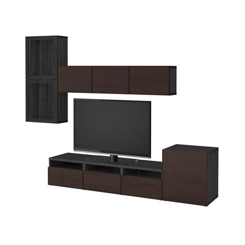 Ikea Tv Meubel.Besta Tv Meubel In Combinatie Glazen Deuren Zwartbruin