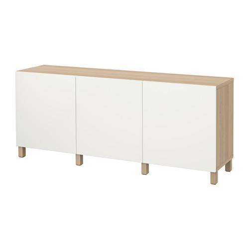 БЕСТО Комбинация для хранения с дверцами - под беленый дуб/Лаппвикен белый