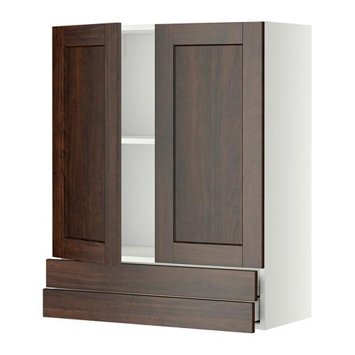 МЕТОД / МАКСИМЕРА Навесной шкаф/2дверцы/2ящика - 80x100 см, Эдсерум под дерево коричневый, белый