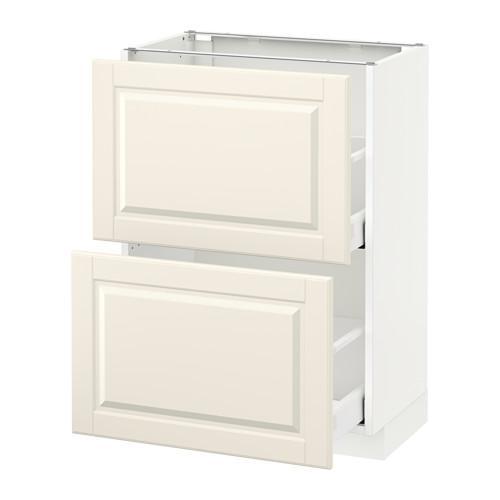 МЕТОД / МАКСИМЕРА Напольный шкаф с 2 ящиками - 60x37 см, Будбин белый с оттенком, белый