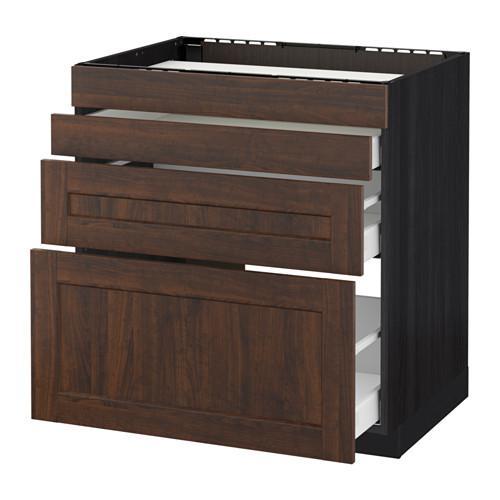МЕТОД / МАКСИМЕРА Нап шкаф д/духовки/4фасада/3ящика - 80x60 см, Эдсерум под дерево коричневый, под дерево черный