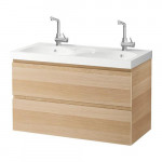 GODMORGON / EDEBOVIKEN sink cabinet with drawers 2 - a bleached oak