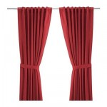Ritva Curtains with tacks, 2 Pieces - Red