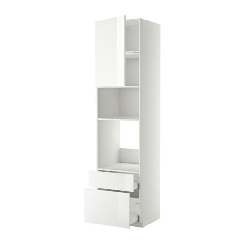 МЕТОД / МАКСИМЕРА Высок шкаф д/духовки/СВЧ/дверца/2ящ - 60x60x240 см, Рингульт глянцевый белый, белый