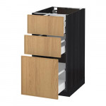 МЕТОД / МАКСИМЕРА Напольный шкаф с 3 ящиками - 40x60 см, Экестад дуб, под дерево черный