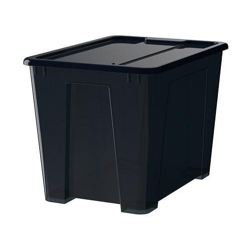 САМЛА Контейнер с крышкой - черный, 39x28x28 см/22 л