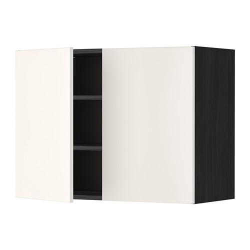 МЕТОД Навесной шкаф с полками/2дверцы - 80x60 см, Веддинге белый, под дерево черный