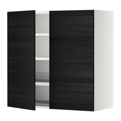 МЕТОД Навесной шкаф с посуд суш/2 дврц - 80x80 см, Тингсрид под дерево черный, белый