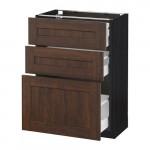 МЕТОД / МАКСИМЕРА Напольный шкаф с 3 ящиками - 60x37 см, Эдсерум под дерево коричневый, под дерево черный