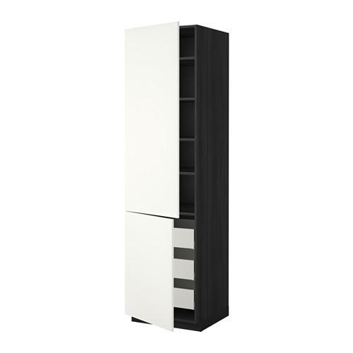 МЕТОД / МАКСИМЕРА Высокий шкаф+полки/3 ящика/2 дверцы - 60x60x220 см, Хэггеби белый, под дерево черный