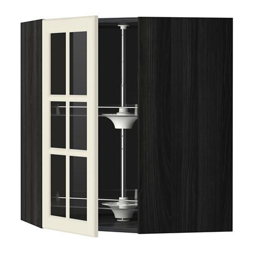 МЕТОД Углов навесн шк с врщ скц/сткл дв - 68x80 см, Будбин белый с оттенком, под дерево черный