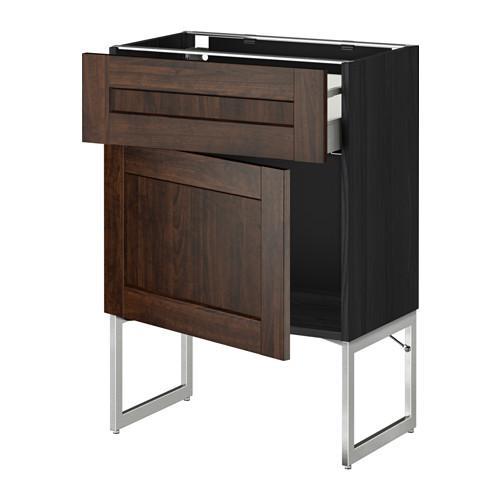 МЕТОД / МАКСИМЕРА Напольный шкаф с ящиком/дверью - 60x37x60 см, Эдсерум под дерево коричневый, под дерево черный