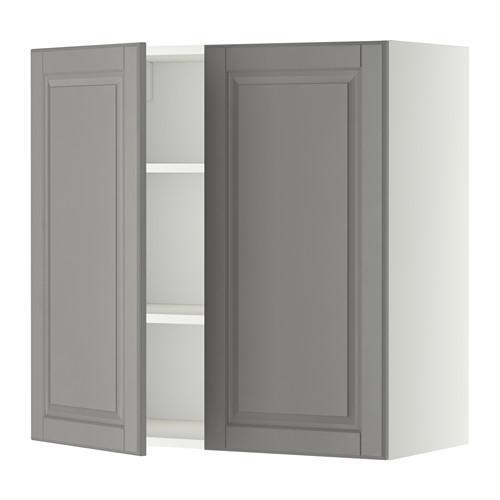 МЕТОД Навесной шкаф с полками/2дверцы - 80x80 см, Будбин серый, белый