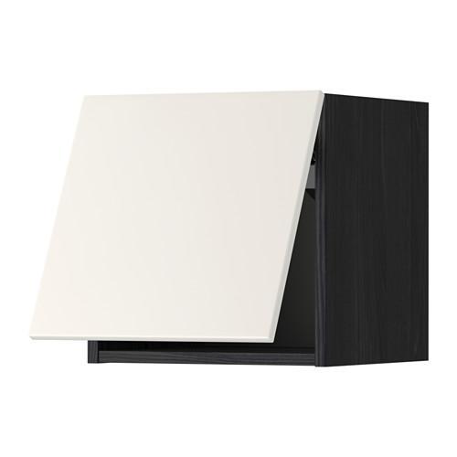 МЕТОД Горизонтальный навесной шкаф - 40x40 см, Веддинге белый, под дерево черный