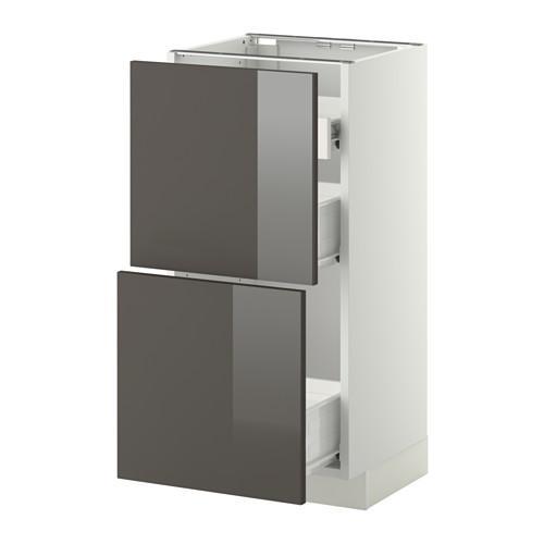 VERFAHREN / FORVARA Nap Schrank 2 FRNT PNL / 1nizk / 2sr Schubladen - weiß, glänzend grau Ringult, 40x37 cm