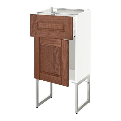 МЕТОД / МАКСИМЕРА Напольный шкаф с ящиком/дверью - 40x37x60 см, Филипстад коричневый, белый