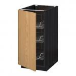 МЕТОД Напольный шкаф с проволочн ящиками - 40x60 см, Экестад дуб, под дерево черный