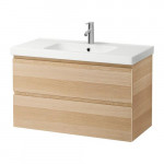 GODMORGON / ODENSVIK Washbasin unit with 2 drawer - under whitened oak