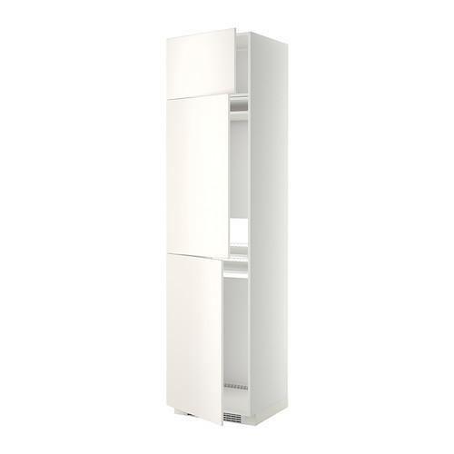 МЕТОД Выс шкаф для хол/мороз с 3 дверями - Веддинге белый, белый