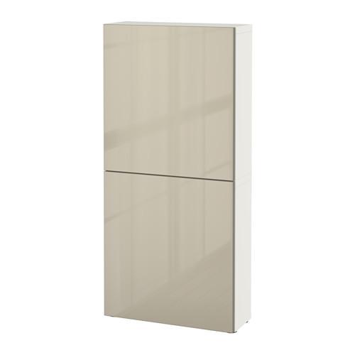 БЕСТО Навесной шкаф с 2 дверями - белый/Сельсвикен глянцевый/бежевый